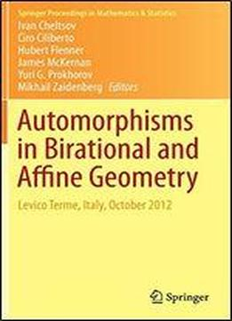 Automorphisms In Birational And Affine Geometry: Levico Terme, Italy, October 2012 (springer Proceedings In Mathematics & Statistics)